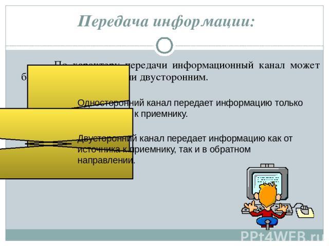Передача информации: По характеру передачи информационный канал может быть односторонним или двусторонним. Односторонний канал передает информацию только от источника к приемнику. Двусторонний канал передает информацию как от источника к приемнику, …