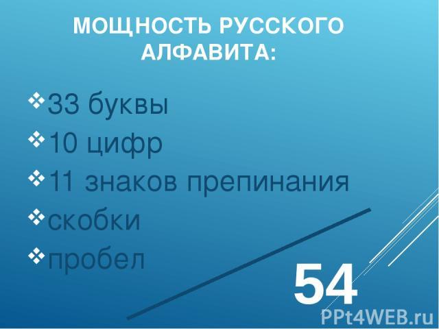 МОЩНОСТЬ РУССКОГО АЛФАВИТА: 33 буквы 10 цифр 11 знаков препинания скобки пробел 54