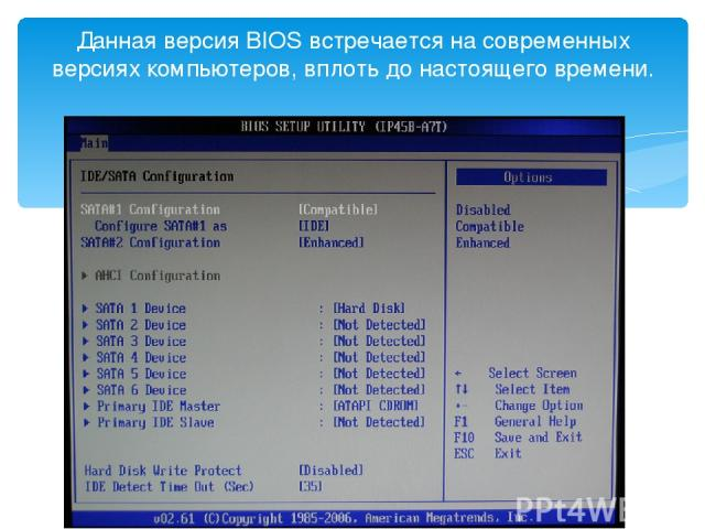 Данная версия BIOS встречается на современных версиях компьютеров, вплоть до настоящего времени.