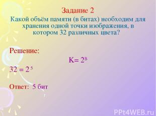 Задание 2 Какой объём памяти (в битах) необходим для хранения одной точки изобра