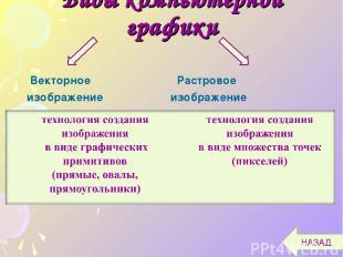 Виды компьютерной графики Векторное Растровое изображение изображение НАЗАД