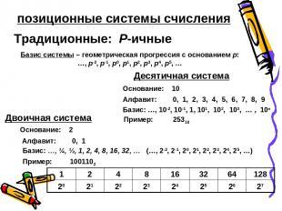 позиционные системы счисления Традиционные: P-ичные Базис системы – геометрическ