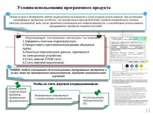 * Условия использования программного продукта Подтверждая соглашение «вслепую» т