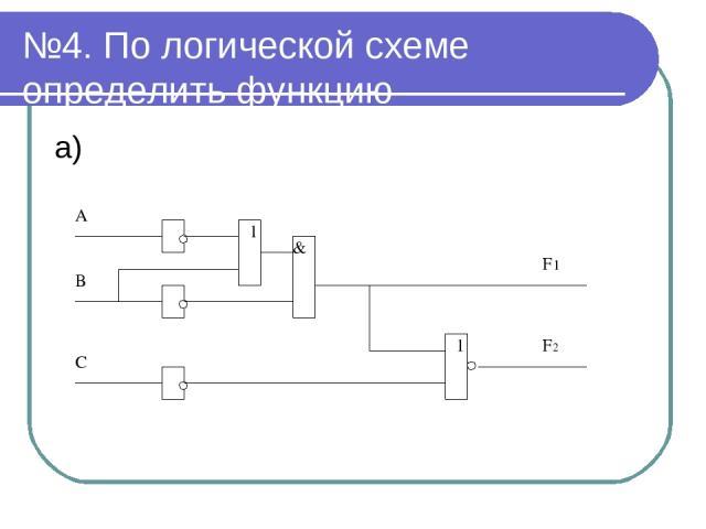 №4. По логической схеме определить функцию а)
