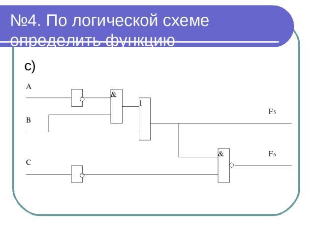 №4. По логической схеме определить функцию с)