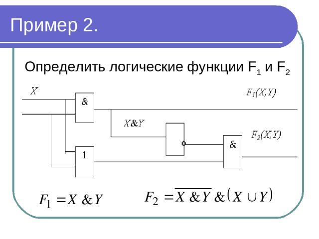 Пример 2. Определить логические функции F1 и F2