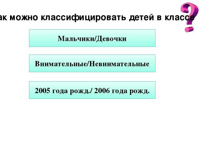 Как можно классифицировать детей в классе Мальчики/Девочки Внимательные/Невнимательные 2005 года рожд./ 2006 года рожд.