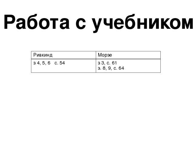 Работа с учебником Ривкинд Морзе з 4, 5, 6 с. 54 з 3, с. 61 з. 8, 9,с. 64