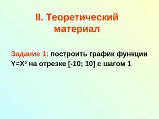 II. Теоретический материал Задание 1: построить график функции Y=X2 на отрезке [