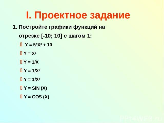 I. Проектное задание Постройте графики функций на отрезке [-10; 10] с шагом 1: Y = 5*X3 + 10 Y = X3 Y = 1/X Y = 1/X2 Y = 1/X3 Y = SIN (X) Y = COS (X)