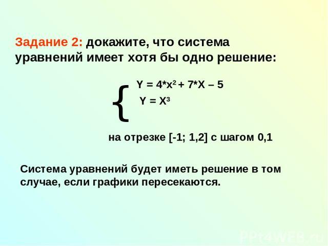 Задание 2: докажите, что система уравнений имеет хотя бы одно решение: на отрезке [-1; 1,2] с шагом 0,1 Система уравнений будет иметь решение в том случае, если графики пересекаются. { Y = 4*x2 + 7*X – 5 Y = X3