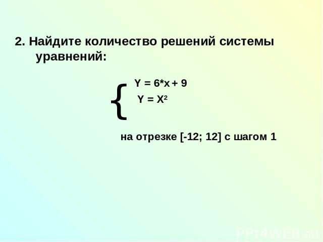 2. Найдите количество решений системы уравнений: на отрезке [-12; 12] с шагом 1 { Y = 6*x + 9 Y = X2