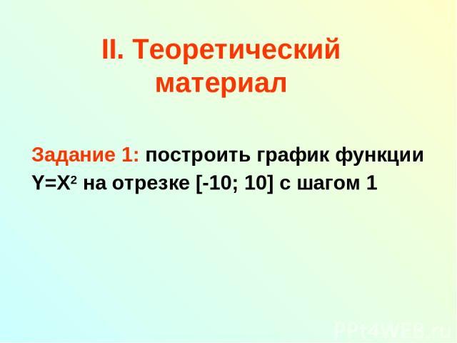 II. Теоретический материал Задание 1: построить график функции Y=X2 на отрезке [-10; 10] с шагом 1