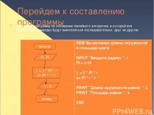 Перейдем к составлению программы Составим программу на основании линейного алгор