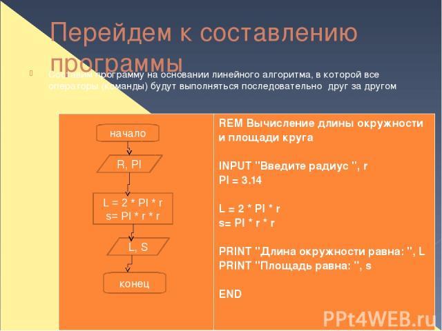 Перейдем к составлению программы Составим программу на основании линейного алгоритма, в которой все операторы (команды) будут выполняться последовательно друг за другом начало R, PI L = 2 * PI * r s= PI * r * r L, S конец REM Вычисление длины окружн…