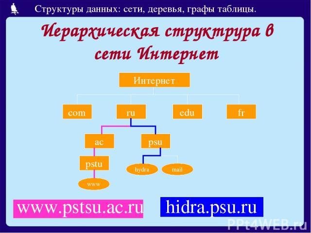 Иерархическая структрура в сети Интернет www.pstsu.ac.ru Интернет com ru edu fr ac psu pstu www hydra mail hidra.psu.ru Структуры данных: сети, деревья, графы таблицы.