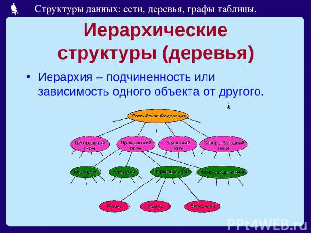 Иерархические структуры (деревья) Иерархия – подчиненность или зависимость одного объекта от другого. Структуры данных: сети, деревья, графы таблицы.