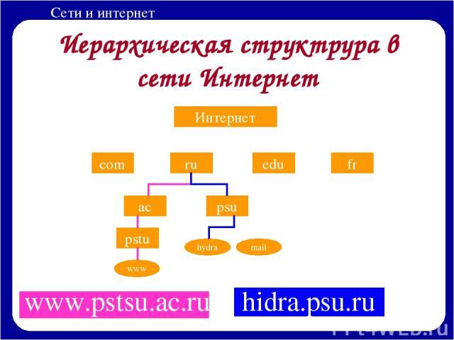 Иерархическая структрура в сети Интернет www.pstsu.ac.ru Интернет com ru edu fr ac psu pstu www hydra mail hidra.psu.ru Сети и интернет