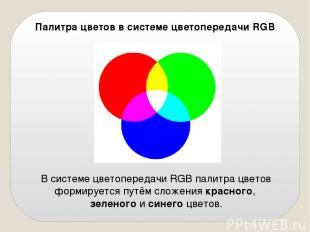 Палитра цветов в системе цветопередачи RGB В системе цветопередачи RGB палитра ц