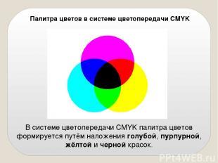 Палитра цветов в системе цветопередачи CMYK В системе цветопередачи CMYK палитра