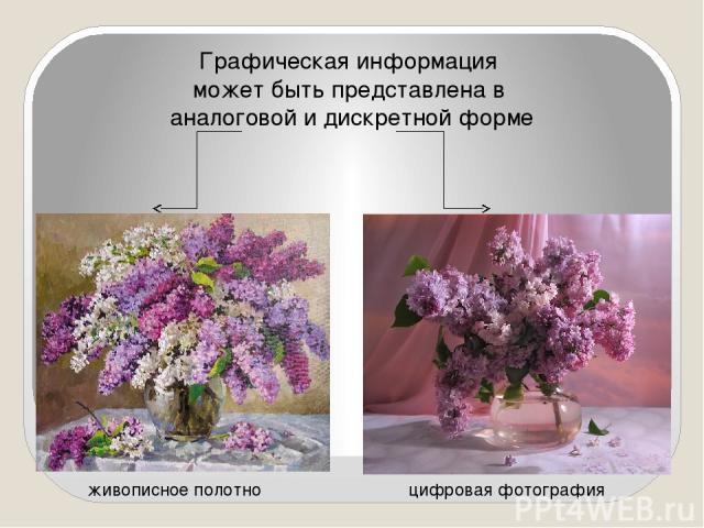 Графическая информация может быть представлена в аналоговой и дискретной форме живописное полотно цифровая фотография