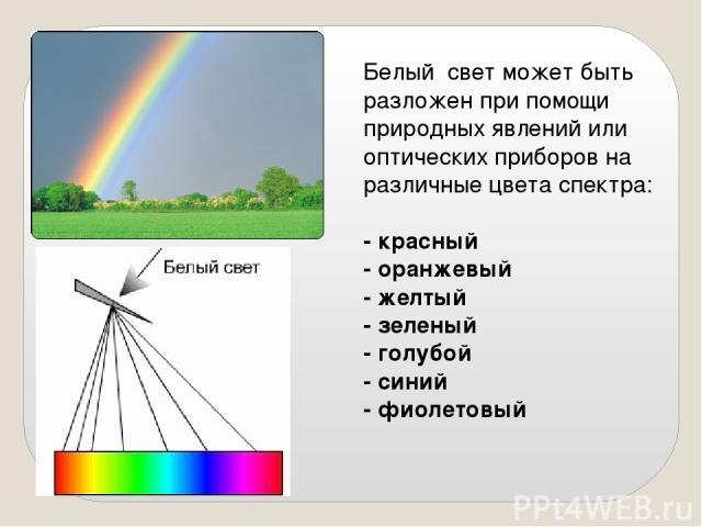 Белый свет может быть разложен при помощи природных явлений или оптических приборов на различные цвета спектра: - красный - оранжевый - желтый - зеленый - голубой - синий - фиолетовый