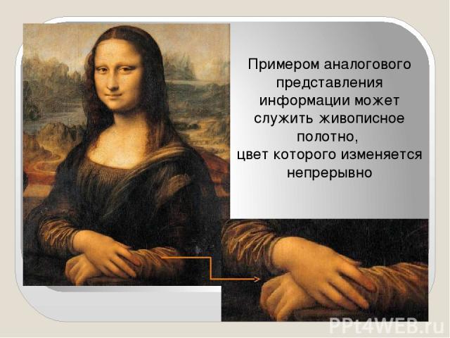 Примером аналогового представления информации может служить живописное полотно, цвет которого изменяется непрерывно