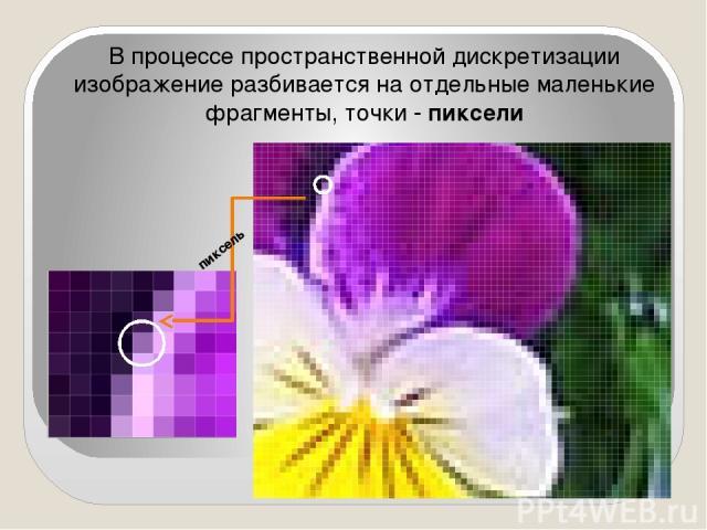 В процессе пространственной дискретизации изображение разбивается на отдельные маленькие фрагменты, точки - пиксели пиксель