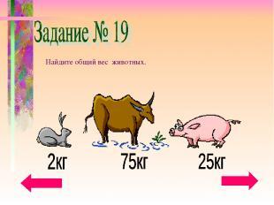 Найдите общий вес животных.