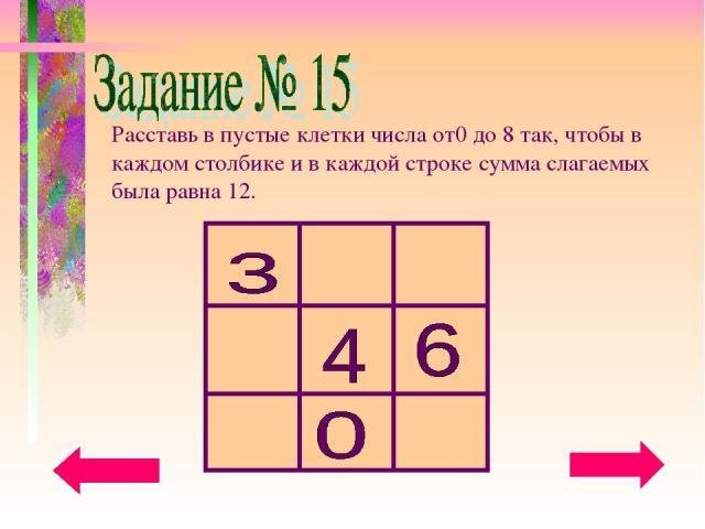 Расставь в пустые клетки числа от0 до 8 так, чтобы в каждом столбике и в каждой строке сумма слагаемых была равна 12.