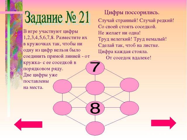 В игре участвуют цифры 1,2,3,4,5,6,7,8. Разместите их в кружочках так, чтобы ни одну из цифр нельзя было соединить прямой линией - от кружка- с ее соседкой в порядковом ряду. Две цифры уже поставлены на места.