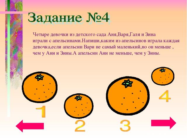 Четыре девочки из детского сада Аня,Варя,Галя и Зина играли с апельсинами.Напиши,каким из апельсинов играла каждая девочка,если апельсин Вари не самый маленький,но он меньше , чем у Ани и Зины.А апельсин Ани не меньше, чем у Зины.