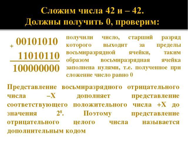 + 00101010 11010110 100000000 получили число, старший разряд которого выходит за пределы восьмиразрядной ячейки, таким образом восьмиразрядная ячейка заполнена нулями, т.е. полученное при сложение число равно 0 Представление восьмиразрядного отрицат…