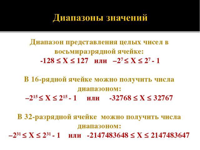 Диапазон представления целых чисел в восьмиразрядной ячейке: -128 ≤ X ≤ 127 или –27 ≤ Х ≤ 27 - 1 В 16-ряднойячейке можно получить числа диапазоном: –215 ≤ Х ≤ 215 - 1 или -32768 ≤ X ≤ 32767 В 32-разрядной ячейке можно получить числа диапазоном: –23…