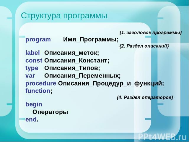 Структура программы {1. заголовок программы} program Имя_Программы; {2. Раздел описаний} label Описания_меток; const Описания_Констант; type Описания_Типов; var Описания_Переменных; procedure Описания_Процедур_и_функций; function; {4. Раздел операто…