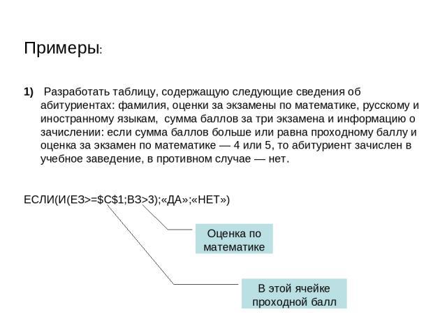 Примеры: Разработать таблицу, содержащую следующие сведения об абитуриентах: фамилия, оценки за экзамены по математике, русскому и иностранному языкам, сумма баллов за три экзамена и информацию о зачислении: если сумма баллов больше или равна проход…