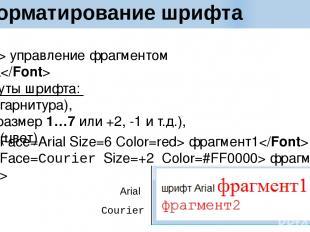 Форматирование шрифта управление фрагментом текста Атрибуты шрифта: Face (гарнит