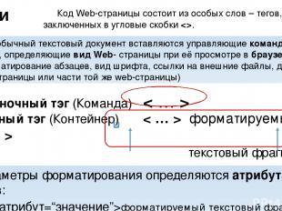 Парный тэг (Контейнер) < … > форматируемый текстовый фрагмент открывающий тэг за