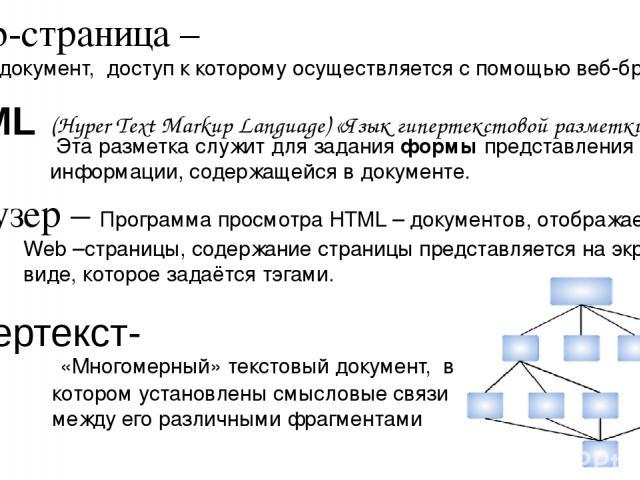 HTML (Hyper Text Markup Language) «Язык гипертекстовой разметки» «Многомерный» текстовый документ, в котором установлены смысловые связи между его различными фрагментами Гипертекст- Web-страница – документ, доступ к которому осуществляется с помощью…
