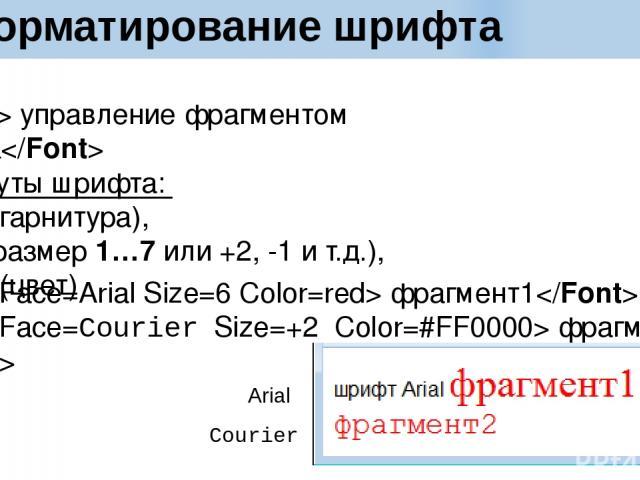 Форматирование шрифта управление фрагментом текста Атрибуты шрифта: Face (гарнитура), Size (размер 1…7 или +2, -1 и т.д.), Color (цвет) фрагмент1 фрагмент2 Courier Arial