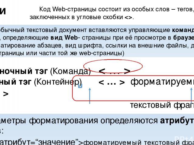 Парный тэг (Контейнер) < … > форматируемый текстовый фрагмент открывающий тэг закрывающий тэг Параметры форматирования определяются атрибутами тегов: форматируемый текстовый фрагмент Тэги Одиночный тэг (Команда) < … > Код Web-страницы состоит из осо…
