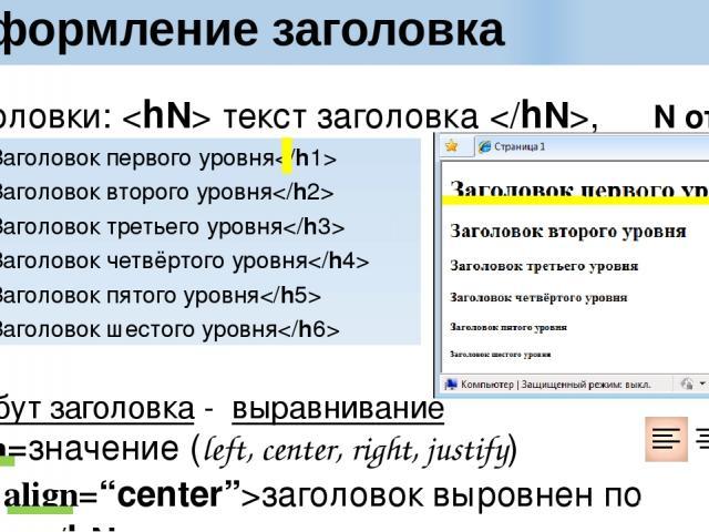 Оформление заголовка Заголовки: текст заголовка , N от 6 до 1 Заголовок первого уровня Заголовок второго уровня Заголовок третьего уровня Заголовок четвёртого уровня Заголовок пятого уровня Заголовок шестого уровня Атрибут заголовка - выравнивание a…