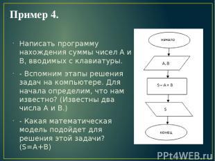 Пример 4. Написать программу нахождения суммы чисел А и В, вводимых с клавиатуры
