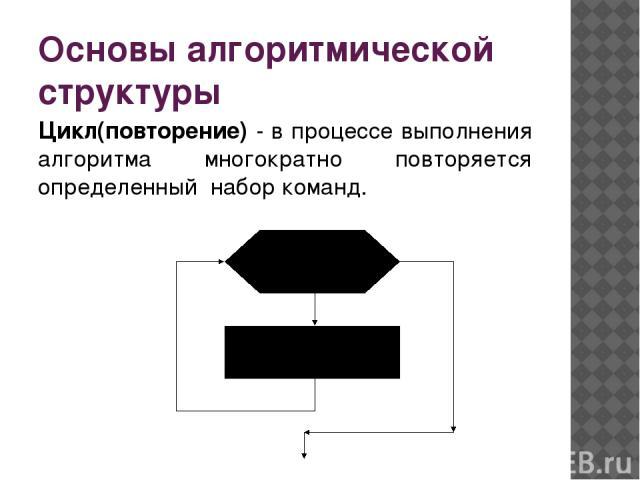 Основы алгоритмической структуры Цикл(повторение) - в процессе выполнения алгоритма многократно повторяется определенный набор команд.