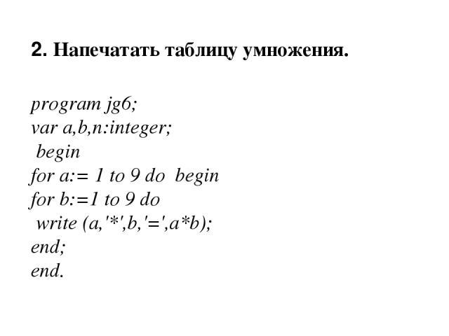 2. Напечатать таблицу умножения. program jg6; var a,b,n:integer; begin for a:= 1 to 9 do begin for b:=1 to 9 do write (a,'*',b,'=',a*b); end; end.