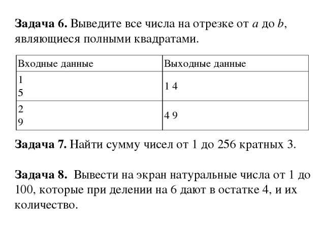 Задача 6. Выведите все числа на отрезке отaдоb, являющиеся полными квадратами. Задача 7.Найти сумму чисел от 1 до 256 кратных 3. Задача 8. Вывести на экран натуральные числа от 1 до 100, которые при делении на 6 дают в остатке 4, и их количеств…