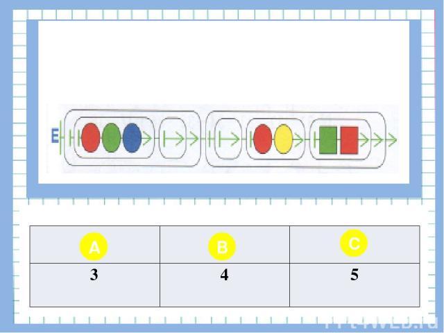Вопрос № 11 Чему равна длина второй бусины цепочки Е? A B C 3 4 5