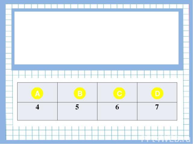 Вопрос № 2 Определите длину цепочки К-О-Р-О-В-А A B C D 4 5 6 7
