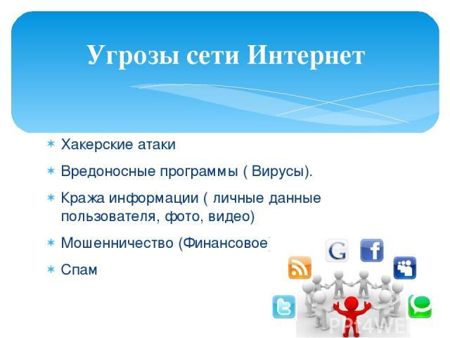 Хакерские атаки Вредоносные программы ( Вирусы). Кража информации ( личные данные пользователя, фото, видео) Мошенничество (Финансовое) Спам Угрозы сети Интернет