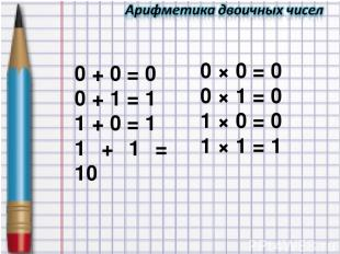0 + 0 = 0 0 + 1 = 1 1 + 0 = 1 1 + 1 = 10 0 × 0 = 0 0 × 1 = 0 1 × 0 = 0 1 × 1 = 1